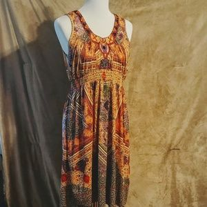 Embroidered Tribal Print Dress Large